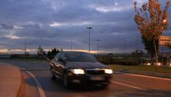 Close up cars traffic on highway exit ramp Stock Footage