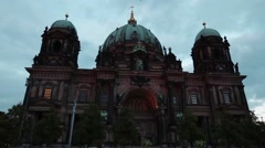 Time lapse from sunset with dark clouds over the cathedral of berlin Stock Footage