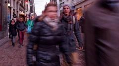 Dutch walk in illuminated Leidsplein Street time lapse Stock Footage