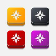 Square button: compass Stock Illustration