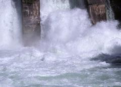 hydroelectric power plant water flow - stock photo