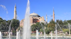 Istanbul visitors enjoying in front of Hagia Sophia Museum in Turkey Stock Footage
