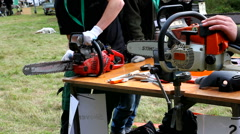 Maintenance place for chainsaws Stock Footage