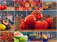 Stock Photo of collage of mixed fresh fruit and vegetables