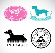 Set of vector an pet shop label on white background, dog shop Piirros