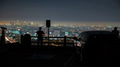 Amazing Los Angeles Night City Lookout Sightseeing Point Stock Footage