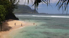 Hideaways Beach, Princeville , Hanalei Bay, Kauai, Hawaii - stock footage