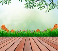 Wood terrace and flowers garden with blurry copy space for multipurpose Stock Photos