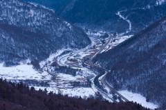 winter valley landscape - stock photo
