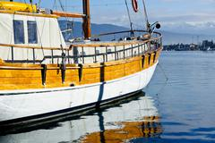 Vintage sailing vessel at anchor Stock Photos