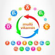 Set MultiVitamins - stock illustration