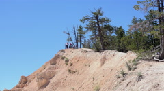 Bryce Canyon National Park lookout view edge of mountain 4K 137 Stock Footage