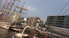 4k Diagonal pan Tall Ships in Hamburg harbour Speicherstadt Stock Footage