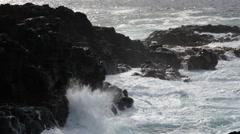 Waves crashing, Princeville, Hanalei Bay, Kauai, Hawaii Stock Footage