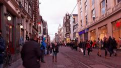 Tilt Dutch walk in illuminated Leidsplein Street time lapse Stock Footage