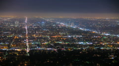 Endless City Grid Night Aerial Los Angeles Panorama Stock Footage