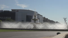 Mall construction, most beautiful water spray fountain, urban modern monument Stock Footage