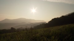 Stock Video Footage of German Nature (Swabian Alb) in the morning with mountains