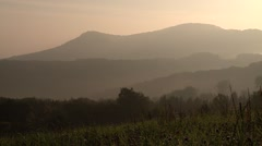 German Nature (Swabian Alb) in the morning with mountains Stock Footage