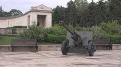 First World War military gun exposition, canon long pipe on wheels deadly weapon Stock Footage