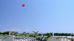 Parasailing at Mediterranean in Kemer beach area - stock footage