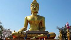 Big Golden Buddha statue, Pratumnak Hill, Pattaya, Thailand Stock Footage