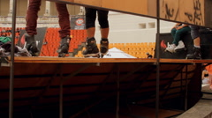 Roller Skates Feet Detail On A Ramp, Extreme Sports, Outdoors, Teenagers - stock footage