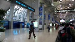 People inside international airport, Bangkok, Thailand Stock Footage