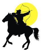 Oriental horseman Stock Illustration