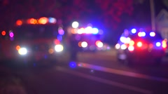 Emergency Scene Of  Red And Blue Flashing Lights At Night Out Of Focus Stock Footage