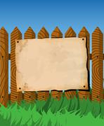 Poster on the fence - stock illustration