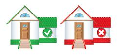 House icons accepted and rejected Stock Illustration