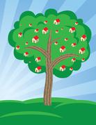 Houses growing on tree Stock Illustration