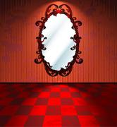 Red room with mirror Stock Illustration
