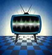 Retro tv receiver in the dark room Stock Illustration