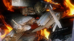 Flame in a fireplace slow motion - stock footage
