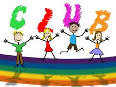 kids club showing apply youngster and social - stock illustration