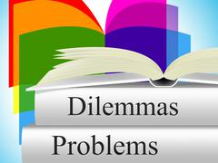 Problems dilemmas showing difficult choice and setback Piirros
