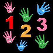 Counting kids showing one two three and youngsters arithmetic Stock Illustration