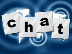Chatting chat showing talking messenger and text Stock Illustration