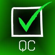 Qc tick representing quality control and certify Stock Illustration