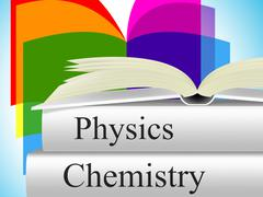 books chemistry representing textbook fiction and science - stock illustration