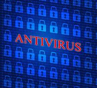 Stock Illustration of antivirus security indicating malicious software and spyware