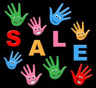 Kids sale showing closeout clearance and youngsters Stock Illustration