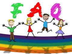 Faq kids showing frequently asked questions and support youngsters Stock Illustration