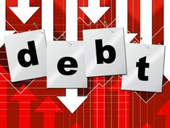 Debt debts indicating financial obligation and finance Stock Illustration