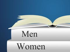 women man showing ladies non fiction and adult - stock illustration