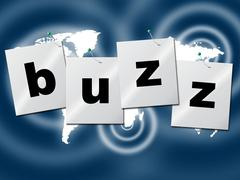 buzz word meaning public relations and publicity - stock illustration