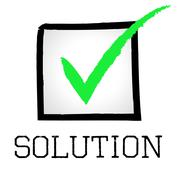 Solution tick meaning checkmark resolution and solve Stock Illustration