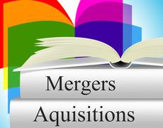 Aquisitions mergers showing link up and consolidation Stock Illustration